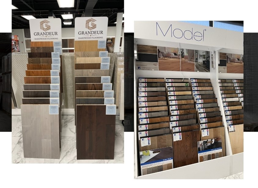 Image depicts a shelf of flooring products in a Mississauga store.