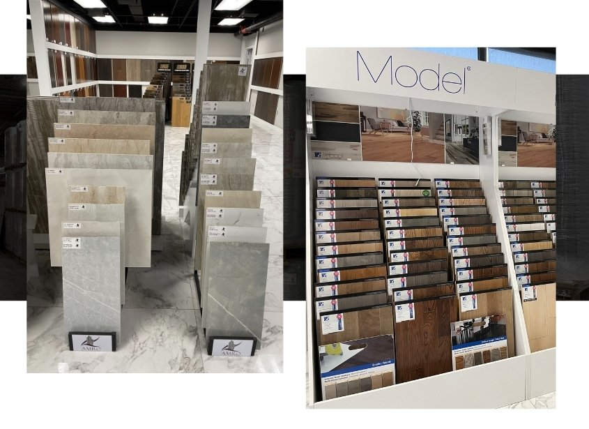 Image depicts a shelf of flooring products in a Toronto store.