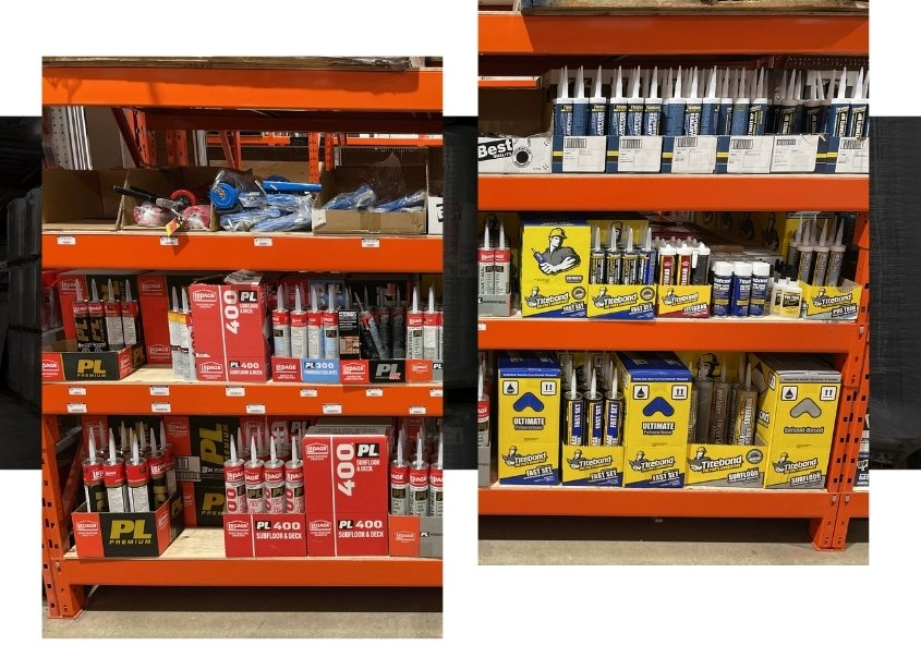 Image depicts shelves of products in a hardware store Mississauga.