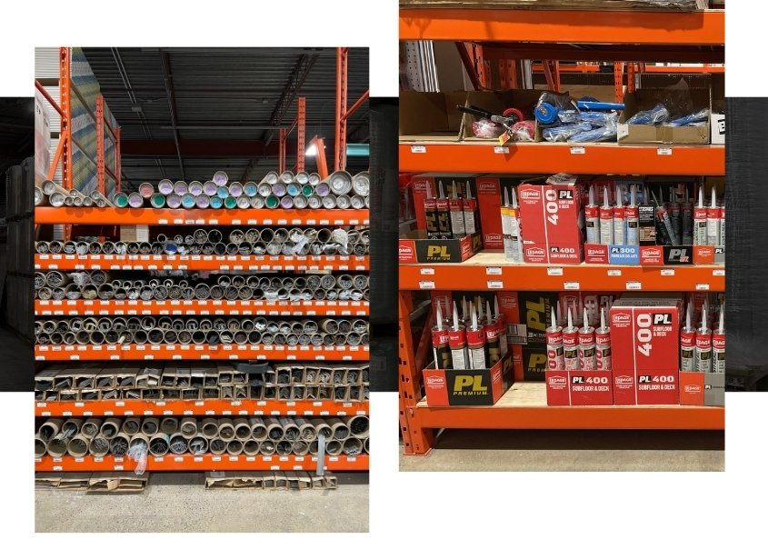 Image depicts shelves of building supplies from FlooReno's Mississauga warehouse.