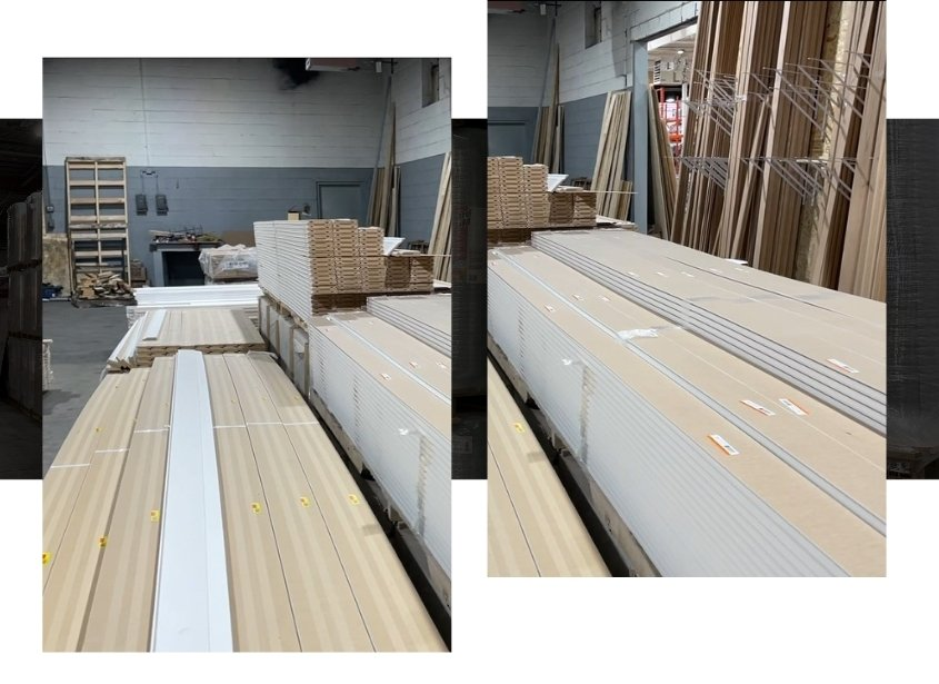 Image depicts stacks of lumber in a lumber Mississauga warehouse.