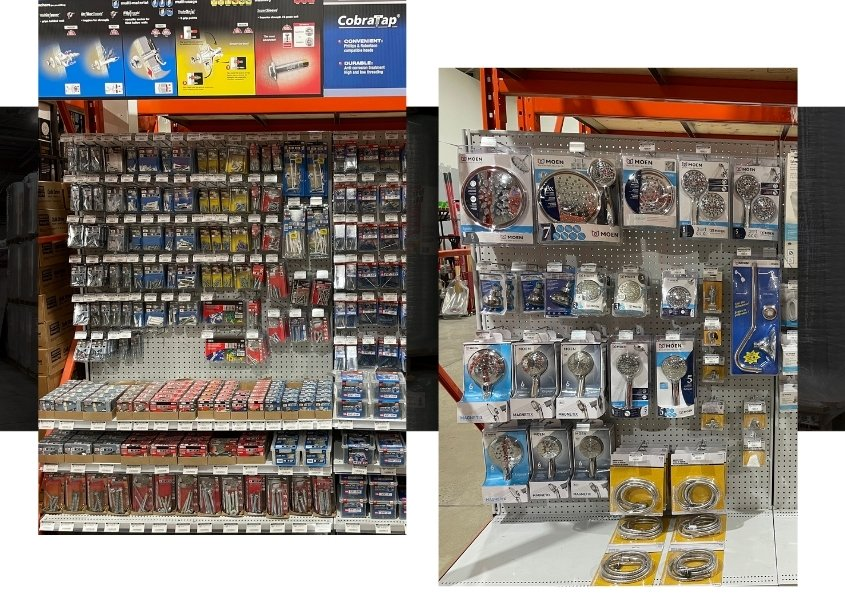 Image depicts shelves of plumbing products in a plumbing supplies Mississauga store.
