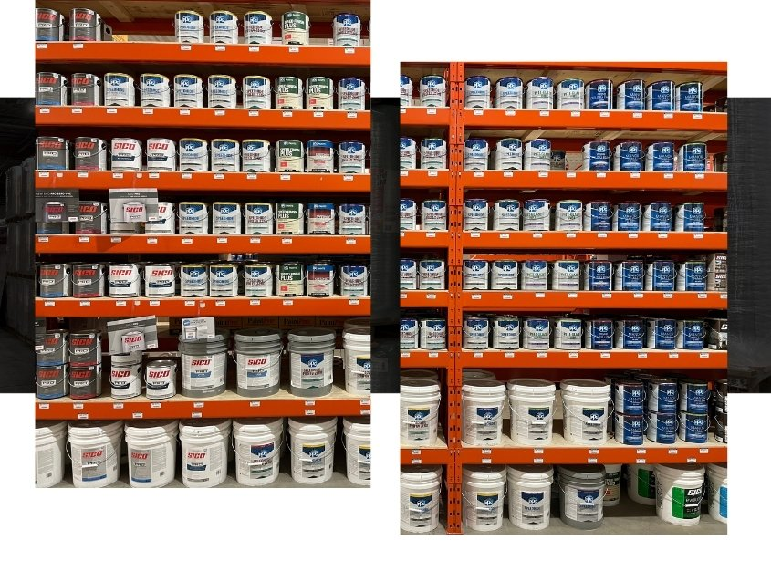 Image depicts shelves of paint products in a paint store Mississauga.
