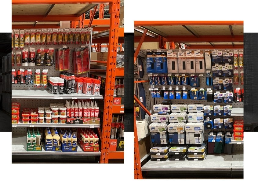 Image depicts a shelf of products from a hardware store in Toronto.